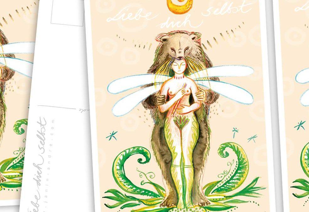 Liebe dich selbst Postkarte – designed von Claudia Uckel